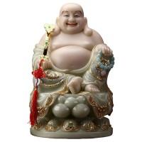 圆通佛具佛教用品厂家直销 汉白玉石粉翠玉弥勒佛菩萨,笑佛
